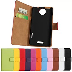Solid Color Genuine Leather Full Body Case with Stand and Card Slot for HTC One X