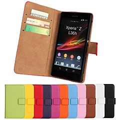 Genuine Leather Full Body Case with Stand and Card Slot for Sony Xperia Z L36h (Assorted Colors)