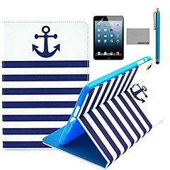 le cas de stand motif marine ancre bleue pu flip en cuir de coco avec le film et le stylet pour Apple iPad mini-1/2/3