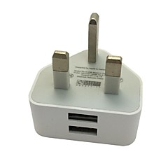 Dual Ports 2 USB Power Adapter UK 3 Pins Wall Plug Mains Charger for iPhone iPad(Assorted Color)