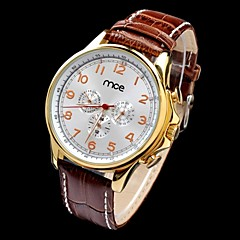 Конференции мужская авто-механический многофункциональный водонепроницаемый золото Дело PU наручные часы