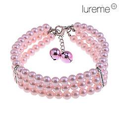 rosa tres filas collar de perlas mascota (longitud de la cadena: 20 + 6 cm)