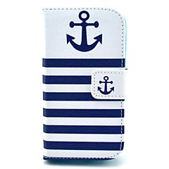 Striped Anchor Pattern PU Leahter Full Body Cover with Stand and Card Slot for Samsung Galaxy Trend Plus S7580/S7562