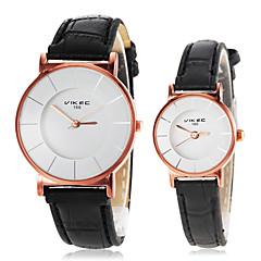 einfache runde Zifferblatt PU-Band Quarz-Armbanduhr Paares (farblich sortiert)
