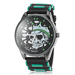 Men's Skull Pattern Black Silicone Band Quartz Wrist Watch (Assorted Colors)