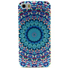 Blue Whirlpool Flowers Pattern PU Leather Full Body Case with Card Slot and Stand for iPhone 5/5S