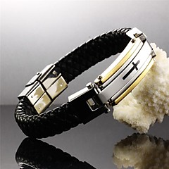 Cross of Faith Leather Woven Titanium Steel 24 K Gold Plated Men Leather Bracelet Jewelry