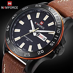 Bărbați Ceas Militar Quartz Japonez Calendar / Rezistent la Apă Piele Bandă Ceas de Mână Negru / Maro