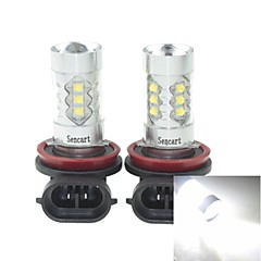 2 x H11  PGJ192 80W 16xCREE Cold White 4500LM 6500K for Car Fog Light (AC/DC12V-24)