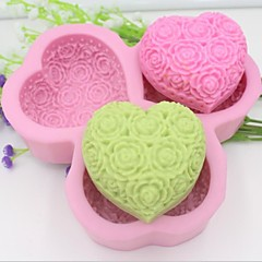 Heart Shaped Rose Flower Fondant Cake Chocolate Silicone Mold Cake Decoration Tools,L14.5cm*W14.5cm*H3cm