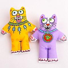 개 반려동물 장난감 씹는 장난감 고양이 / 만화 옐로우 / 퍼플 직물
