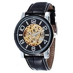 mænds skelet dial læderrem automatisk mekanisk ur (assorterede farver)