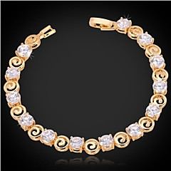 U7®Tennis Bracelet Women's 18K Chunky Gold Platinum Plated AAA+ Cubic Zirconia Bracelet Bangle Fashion Jewelry