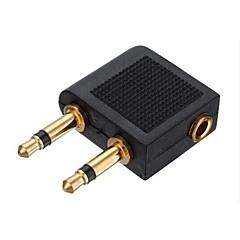 ls140 3.5mm의 2 × 3.5mm의 비행기 항공 여행 헤드폰 이어폰 어댑터