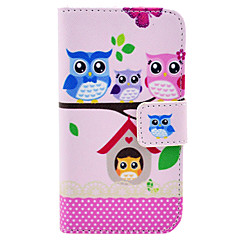 Cute Owl Families Sitting on The Tree Pattern PU Leather Full Body Case for iPhone 4/4S