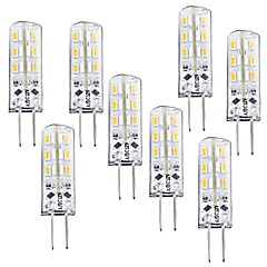1.5W G4 LED Corn Lights T 24 SMD 3014 100-120 lm Warm White Dimmable DC 12 V 8 pcs