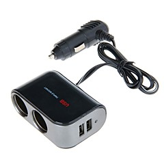 WF-069 12V-24V 2.1A 1-to-2 Car Cigarette Lighter Socket Power Adapter with Dual USB Output (Black)