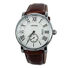 Men's Roman Numerals Leather Band Quartz Wrist Watch (Assorted Colors)