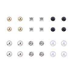 Lureme®Alloy Zircon Pearl Earrings Set(12 Pairs)
