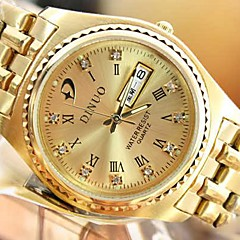 Men's Round Dial Rome Digital Double Calendar Steel Band Quartz Fashion Watch