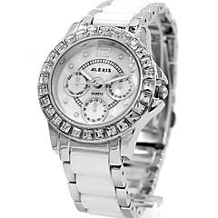 vrouw dames ronde legering wijzerplaat keramische horlogeband waterdicht quartz analoog horloge