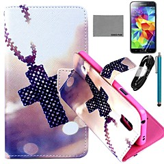 COCO FUN® Cross Necklace Pattern PU Leather Case with Film and USB Cable and Stylus for Samsung Galaxy S5 I9600