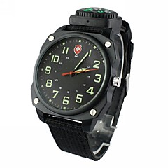 Men's Military Style Round Dial  Nylon Band Quartz Analog Wrist Watch(Assorted Colors)