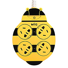 2m 기가 바이트 플러그 AC 전원 케이블 노랑과 마일의 GSP-4100-0 꿀벌 확장 소켓