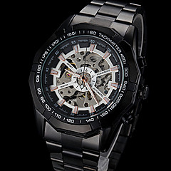 FORSINING® Men's Automatic Mechanical Hollow Dial Black Steel Band Wrist Watch (Assorted Colors)