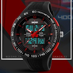 שעון היד כפולה עיצוב הספורטיבי אזורי זמן גומייה של גברים (צבעים שונים)