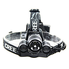 Richuang RC-6633 Rechargeable 3-Mode 1x Cree T6+2x Cree XPE Headlamp(240-350LM, 2x18650, Black)