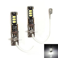 HJ H3 5W 450LM 5500-6000K 15x2835 SMD LED White Light Bulb for Car Brake Light (12-24V,2 Piece)