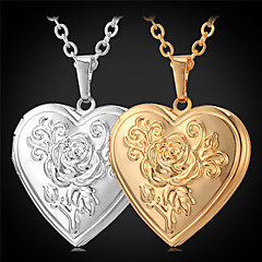 U7® Rose Flower Floating Locket Necklace Heart Photoes Pendant Charms 18K Gold Plated Choker Necklace Fashion Jewelry