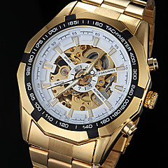 FORSINING® Men's Automatic Mechanical Hollow Dial Gold Steel Band Wrist Watch (Assorted Colors)