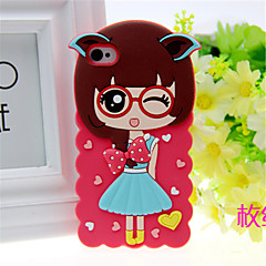 Pretty Girl Cartoon Style Silicone Back Cover for iPhone 5/5s (Assorted Colors)