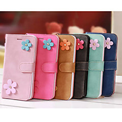Double Color Floret Scrub PU Leather Cover with Stand for iPhone 5/5S Case (Assorted Color)