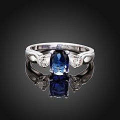 Fashion Simple Big Diamante  Shape Women Blue and Silver Zircon Statement Rings(Blue and Silver)(1Pcs)