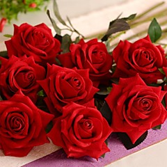 """19.7""""L Set of 1 Romantic Red Roses Flannelette Flowers"""