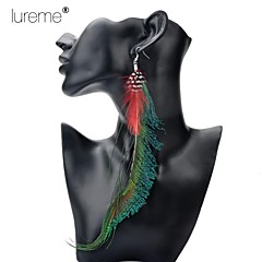 Lureme®  Indiana Style Long Pattern Peacock Feather Alloy Pendant Earrings
