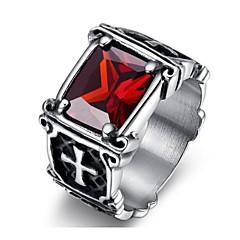 Classic titanium steel Men's As Picture  Rings(balck,red)(1 Pc)
