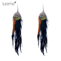 Lureme®  Indiana Style Three-Colour Peacock Feather Alloy Pendant Earrings