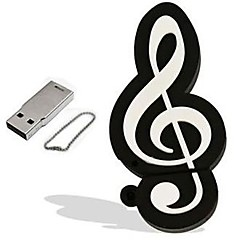 de dibujos animados modelo de nota musical usb 2.0 flash drive 16gb pen