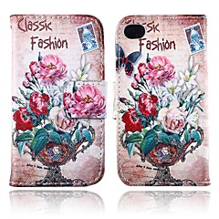 Retro Style Flower Pattern PU Leather Full Body Case with Card Slot and Stand for iPhone 4/4S