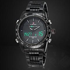 Herre Armbåndsur Japansk Quartz LED / Kalender / Kronograf / Vandafvisende / Dual Tidszoner / alarm Rustfrit stål Band Sort / Sølv Brand-