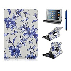 9.7 Inch 360 Degree Rotation Blue Flower Pattern with Stand Case and Pen for iPad Air /iPad 5