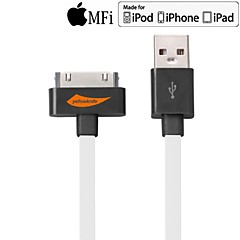 Yellowknife 30-Pin To USB Cable Charging Sync Data Flat White Cable for iPhone 4/4s 100cm