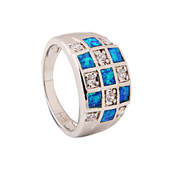High Quality Fashion Platinum Opal Ring Water Blue Grid