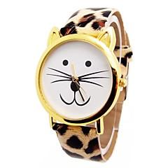Women's Cat Head Leopard Circular Belt China Movement Watch(Assorted Colors)