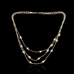 18K Real Gold Plated Beads Chain Necklace 48CM