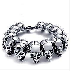 Toonykelly Fashion 22CM Men's Stainless Steel Silver Skull Bracelet(Silver)(1PC)